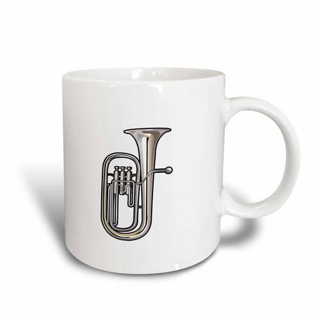 3dRose euphonium brass instrument music realistic, Ceramic Mug, 15-ounce