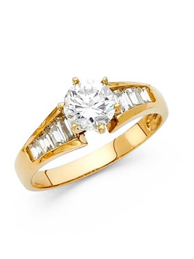 14K Solid Yellow Gold 1.00 cttw Cubic Zirconia Engagement Wedding Ring, Size 7.5