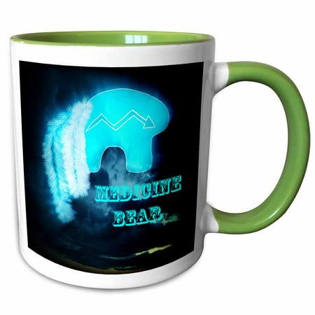 3dRose Zuni Medicine Bear is an image I created representing healing - Two Tone Green Mug, 11-ounce