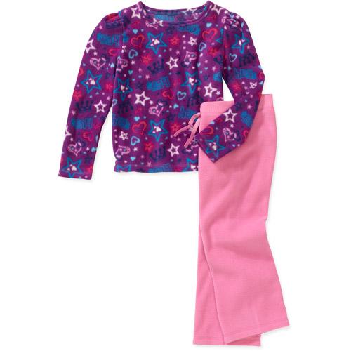 Faded Glory - Little Girls' Long Sleeve Polar Fleece Tee and Pant Set, 2 Pack