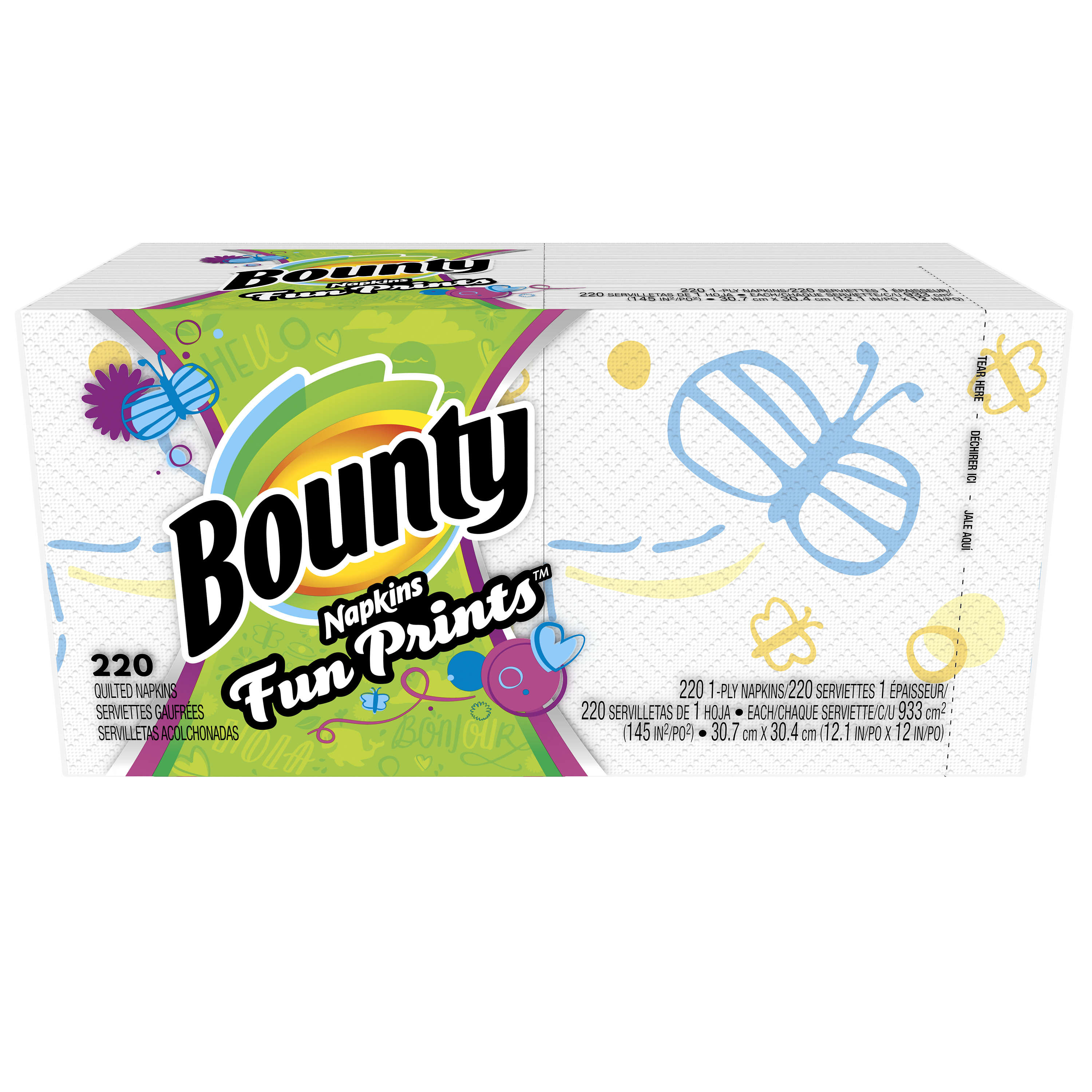 Bounty Paper Napkins, Prints, 220 Count