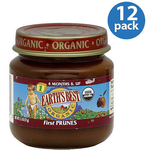 Earth's Best Stage 1 Organic Prunes Baby Food, 2.5 oz (Pack of 12)
