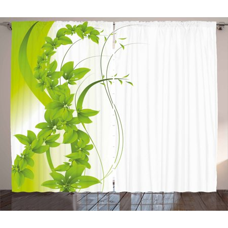 Fantasy 2 Light - Green Curtains 2 Panels Set, Blossoming Flowers Natural Fantasy Theme Abstract Botanical Garden Design, Window Drapes for Living Room Bedroom, 108W X 84L Inches, Apple Green White, by Ambesonne