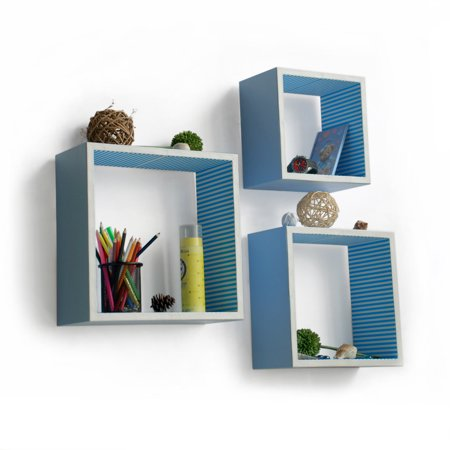 Blue Wall Shelf (Powder Blue Square Leather Wall Shelf / Bookshelf / Floating Shelf (Set of 3))