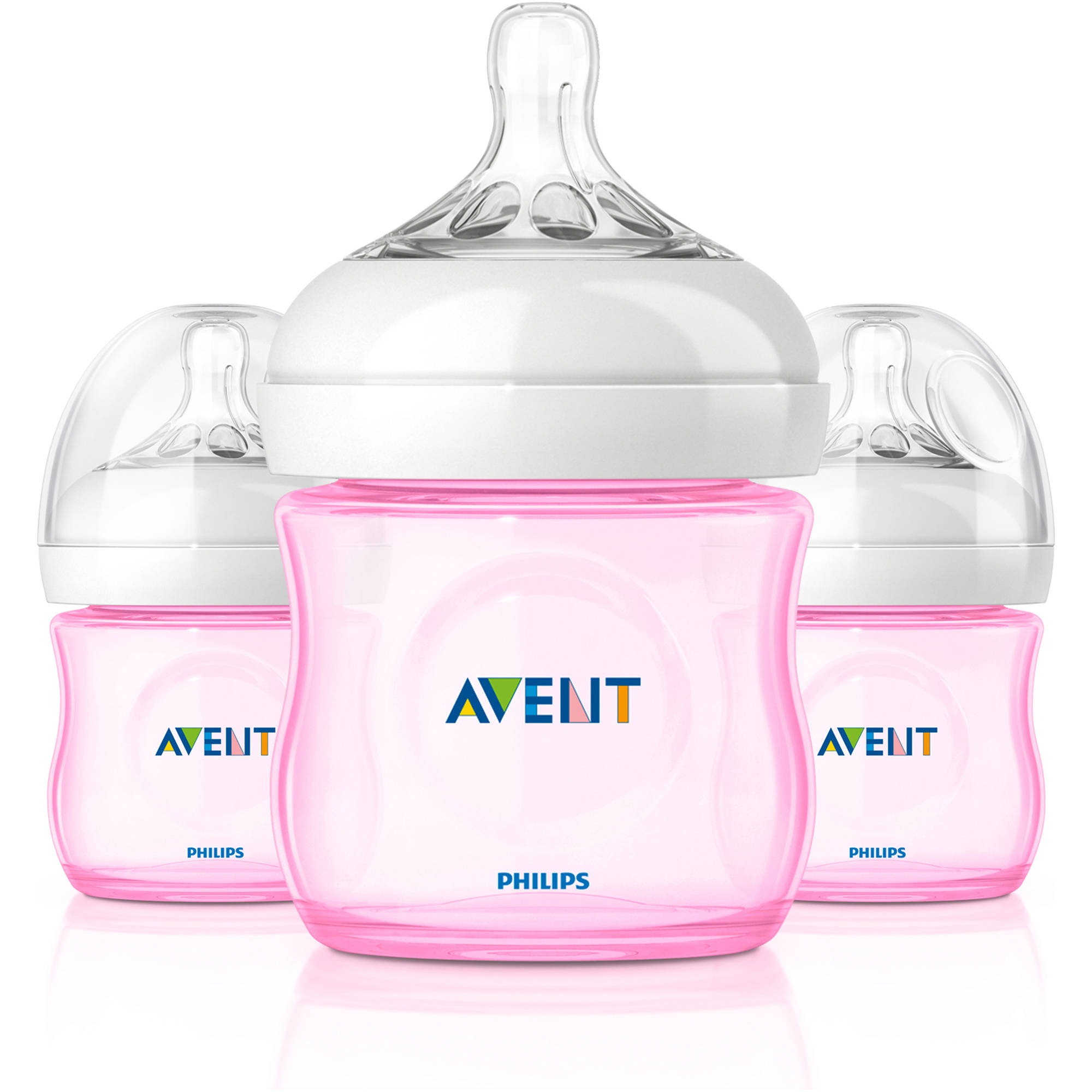 Philips Avent BPA Free Natural Pink Baby Bottles, 4 Ounce, 3 Pack