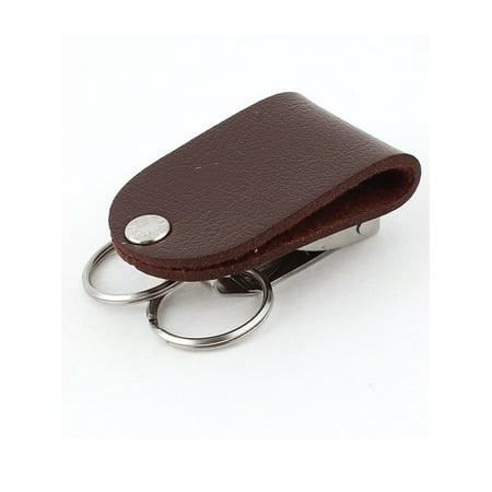 2Pcs Faux Leather Security Belt Buckle Clip Keyring Keychain Key