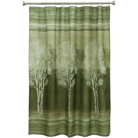 Bacova guild forest silhouette green printed polyester 70 for Forest green curtains drapes
