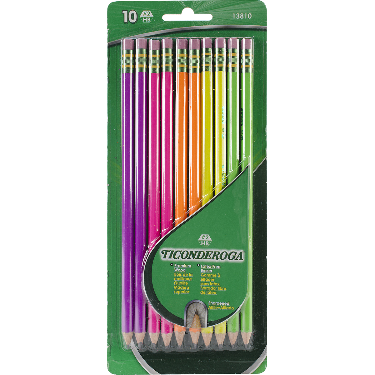 Ticonderoga #2 Pencils 10/Pkg-Assorted Neon