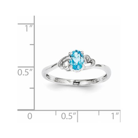 Sterling Silver Rhodium-plated Light Swiss Blue Topaz Ring - image 1 de 2