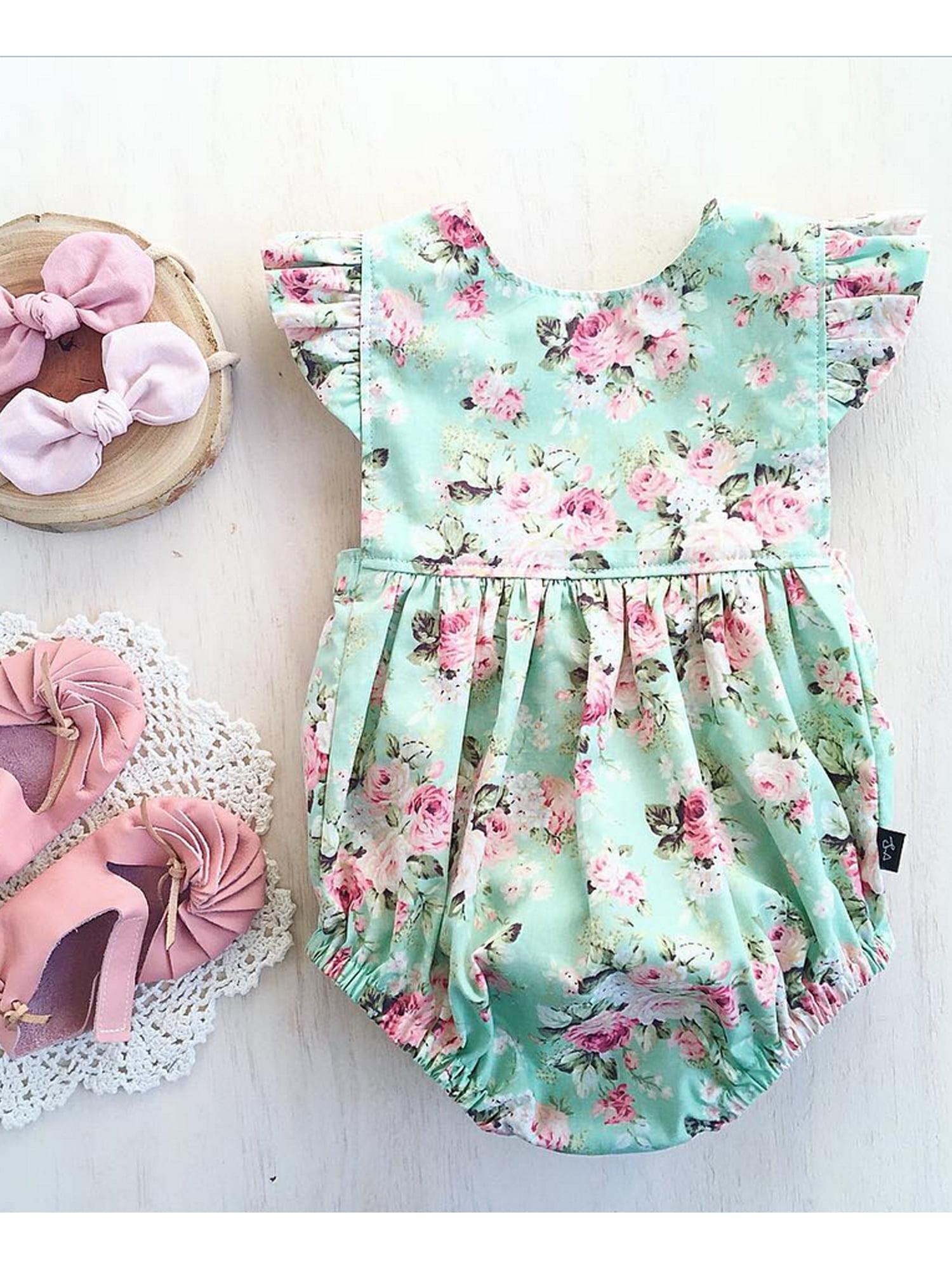 Newborn Baby Girl Summer Flower Romper Bodysuit Jumpsuit Outfits Clothes Sunsuit