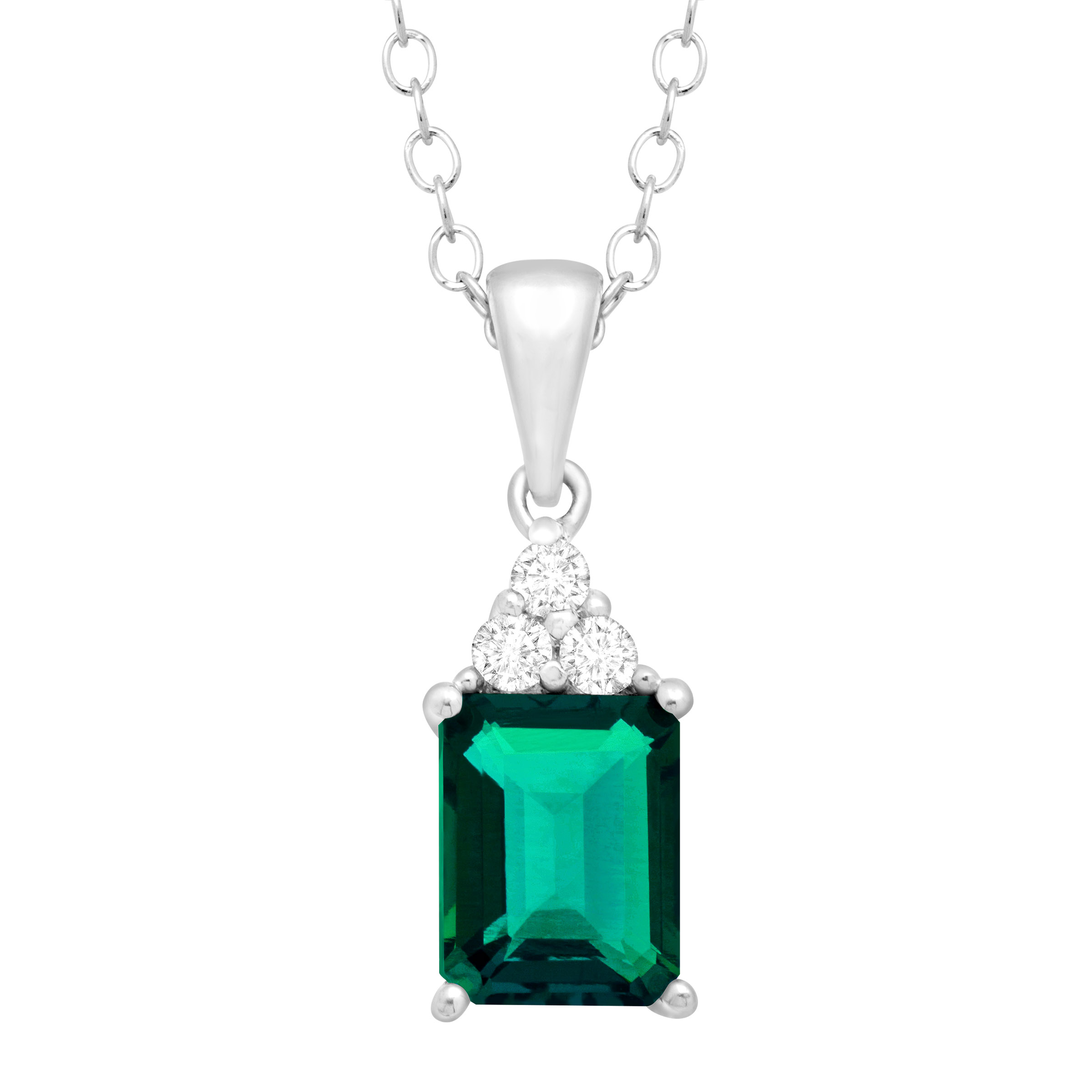 1 1/2 ct Created Emerald & White Topaz Pendant Necklace in Sterling Silver