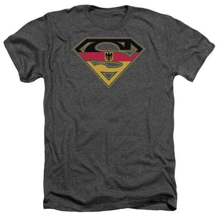 Superman DC Comics German Flag Shield Adult Heather T-Shirt Tee