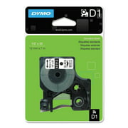 "DYMO D1 High-Performance Polyester Removable Label Tape, 1/2"" x 23 ft, Black on White"