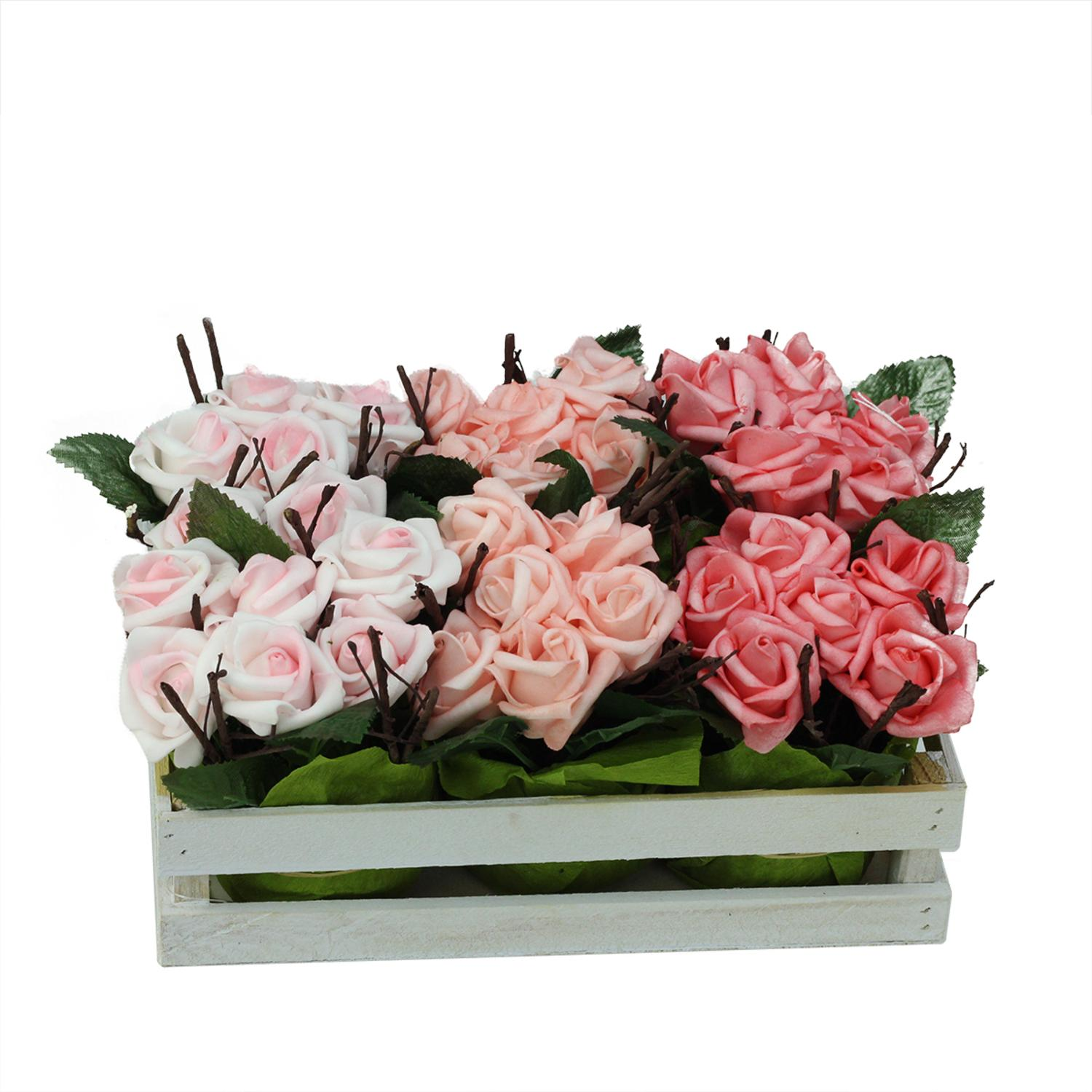 Set of 6 Artificial Pink Rose Plants in Crate Spring Table Top Decoration 9.5""