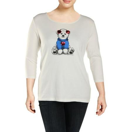 Karen Scott Womens Plus Sequined Polar Bear - Karen Scott Halloween