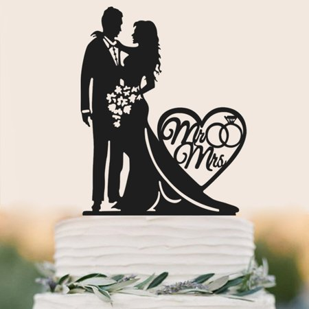 Buythrow Mr and Mrs Cake Topper Acrylic Love Wedding Cake Topper Funny Bride and Groom Cake (Best Wedding Cake Frosting)