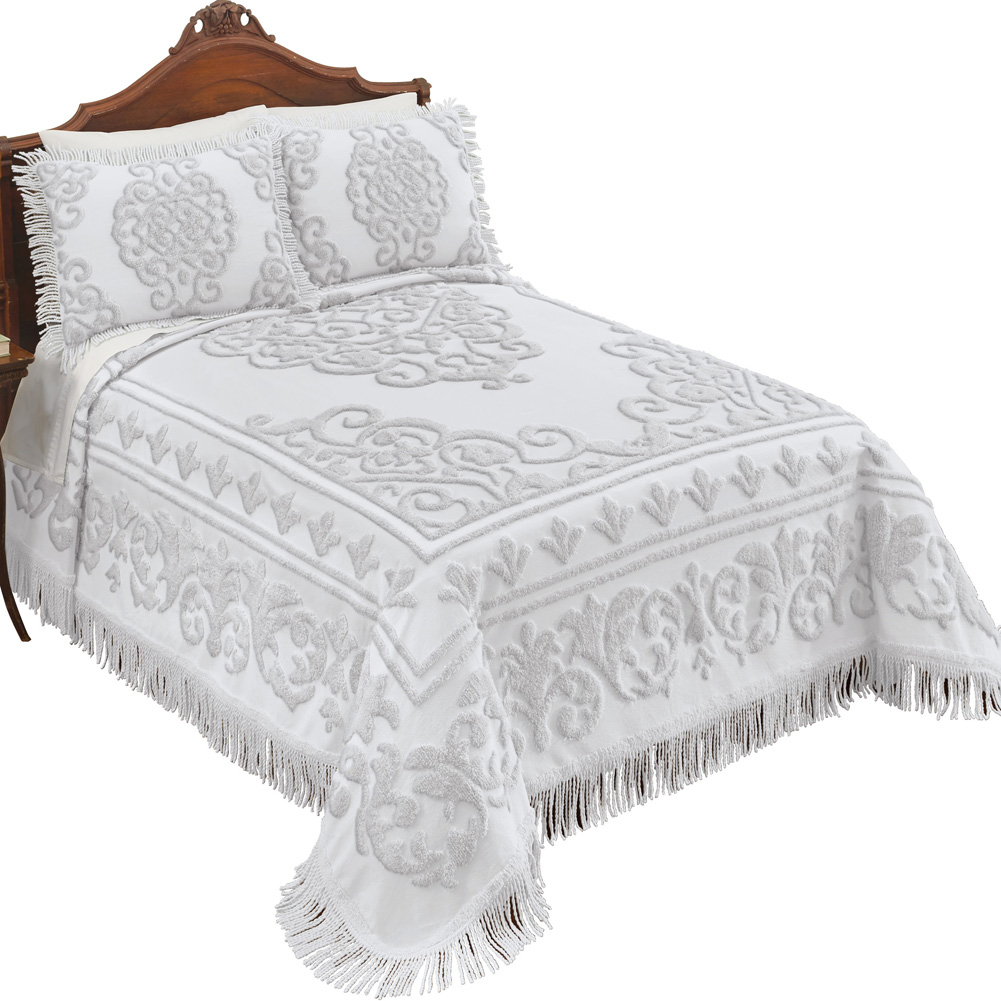 Sarah Chenille Bedspread with Textured Scrolling Medallion Design and Fringe Border, King, Mint