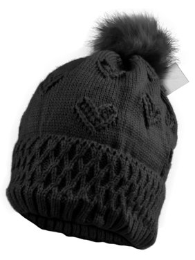 a720747a Product Image Enimay Women's Winter Cable Knitted Faux Fur Beanie Hat 0512  Black