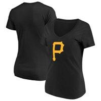 Women's Majestic Black Pittsburgh Pirates Top Ranking V-Neck T-Shirt