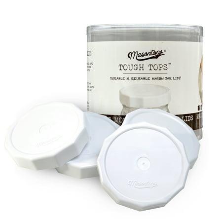 Masontops Tough Tops - Wide Mouth Mason Jar Lid - White - Bpa-Free Plastic Screw Caps - Reusable Airtight Storage Covers Plastic Canning Lids