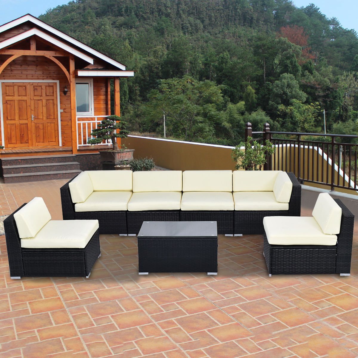 Costway 7 PCS Outdoor Patio Sofa Set Sectional Furniture Black PE Rattan  Deck Couch