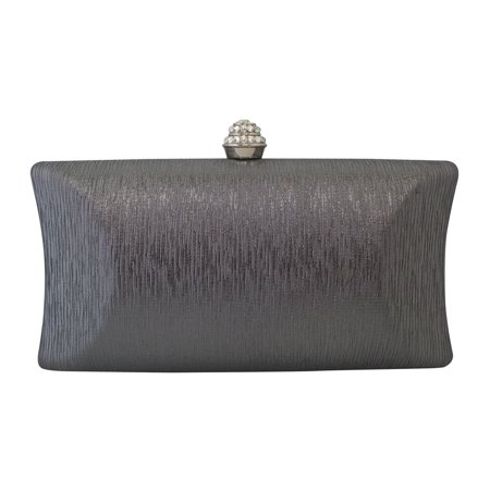 Chicastic Rhinestone Crystal Clasp Hard Box Wedding Evening Bag Bridal Cocktail Clutch Purse Grey