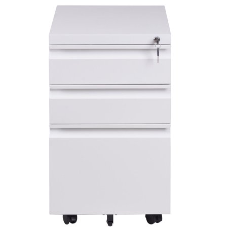 "GHP 15""x19.8""x25.7"" White Steel 3-Drawer Rolling Mobile File Cabinet with Lock"