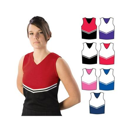Pizzazz Multi Color Cheer V Neck V Stripe Uniform Top Adult S-2XL (Cheap Cheer Shirts)