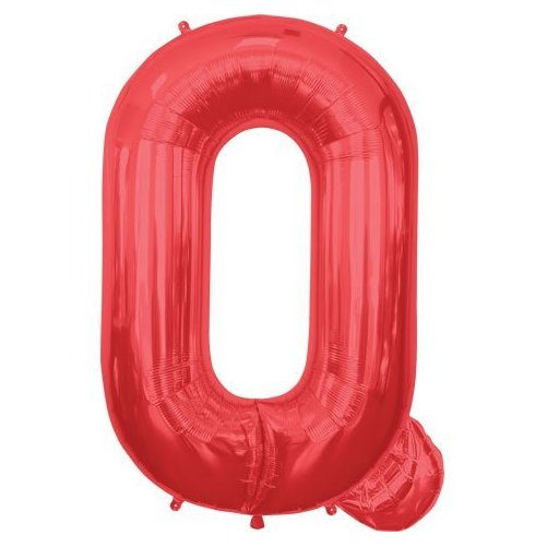 Letter Q - Red Helium Foil Balloon - 34 inch