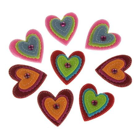 Self-Adhesive Gem Hearts Felt Die Cuts, 1-1/2-Inch, - Jewel Heart