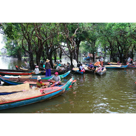 Canvas Print Village Tour Kompong Phluk Kompong Boat People Stretched Canvas 10 x - Village People Outfits