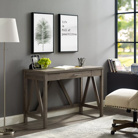 Manor Park Rustic Farmhouse Computer Writing Desk with Drawer - Grey Wash China Manor House