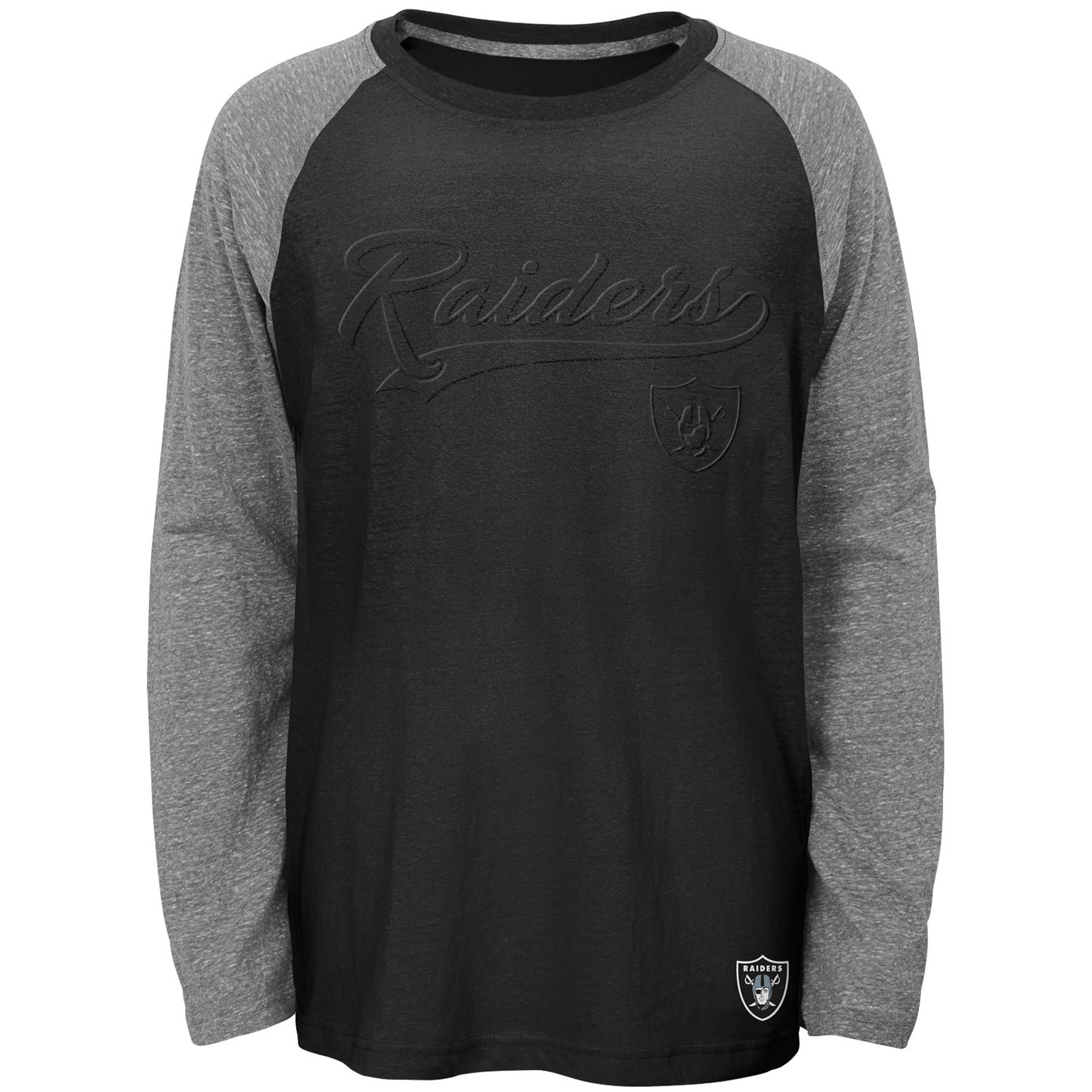 Youth Black Oakland Raiders Long Sleeve Raglan T-Shirt