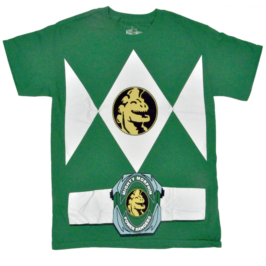 Authentic Mighty Morphin Power Rangers Adult Men's Green Costume T-shirt