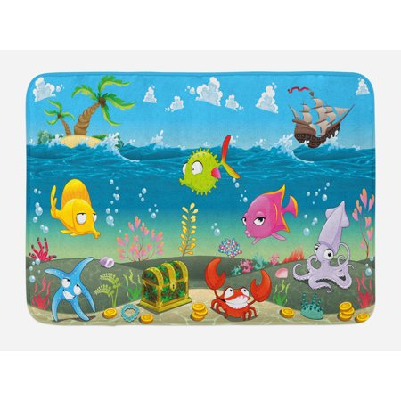 Kids Bath Mat, Funny Sea Animals Underwater Ocean View with Sail Boat Palm Trees Cartoon Artwork, Non-Slip Plush Mat Bathroom Kitchen Laundry Room Decor, 29.5 X 17.5 Inches, Multicolor, Ambesonne