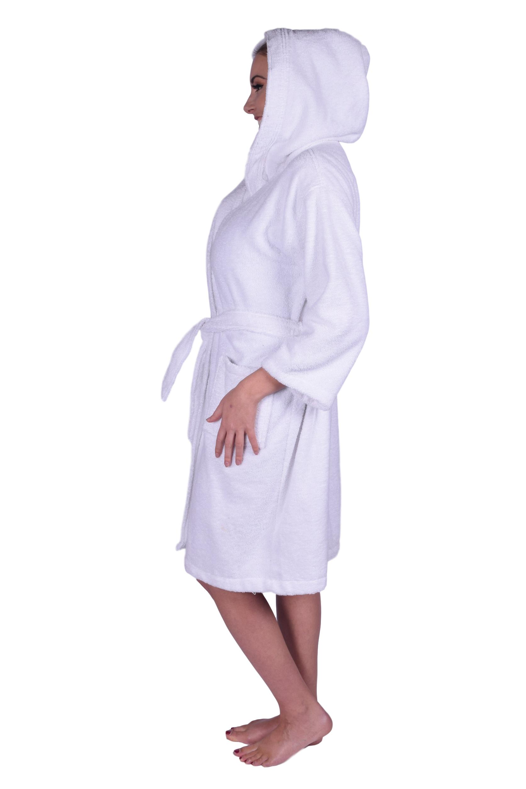 28bb95700f Puffy Cotton - Premium Teen   Petite Unisex Hoodie Bath Robe 100% Natural  Soft Cotton - White - Walmart.com