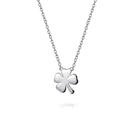 Irish Shamrock Good Luck Charm Four Leaf Clover Pendant Necklace For Women For Teen 925 Sterling Silver