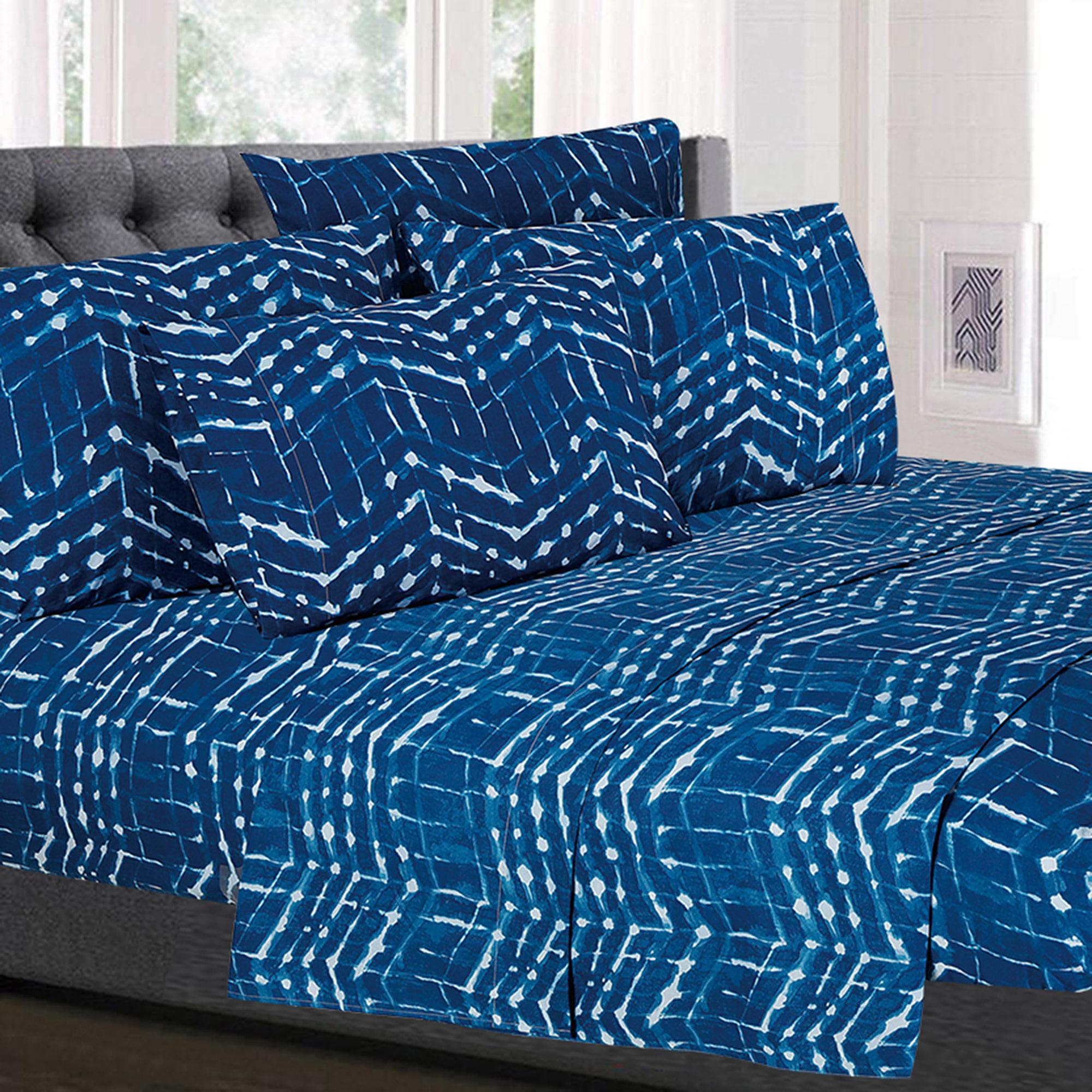 Monroe Blue Zig Zag Pattern Geometric 6-Piece 1500 Thread Count Sheet Set