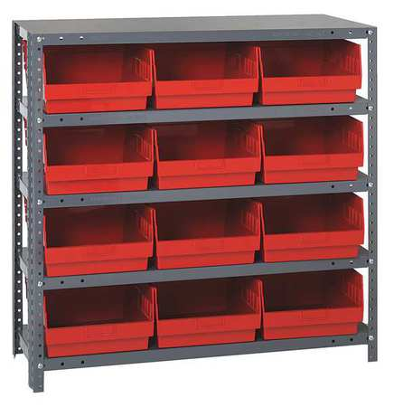 Bin Shelving,Solid,36X18,12 Bins,Red QUANTUM STORAGE SYSTEMS 1839-210RD