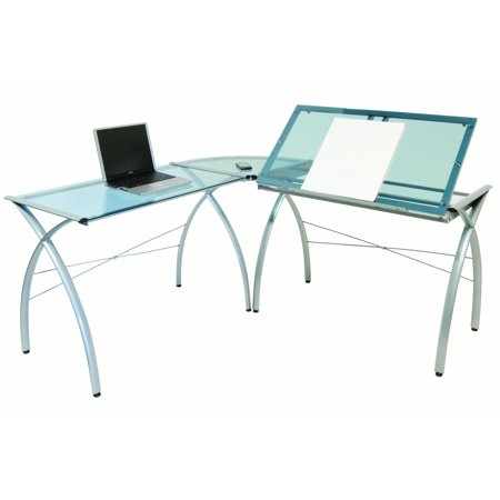 Ls Workcenter - Offex Home Office Futura LS WorkCenter with Tilt Glass - Silver/Blue
