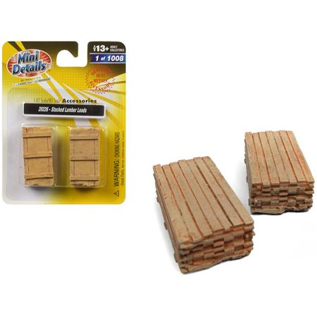 Scale Lumber Load (Stacked Lumber Loads 2 piece Accessory Set 1/87 (HO) Scale by Classic Metal)