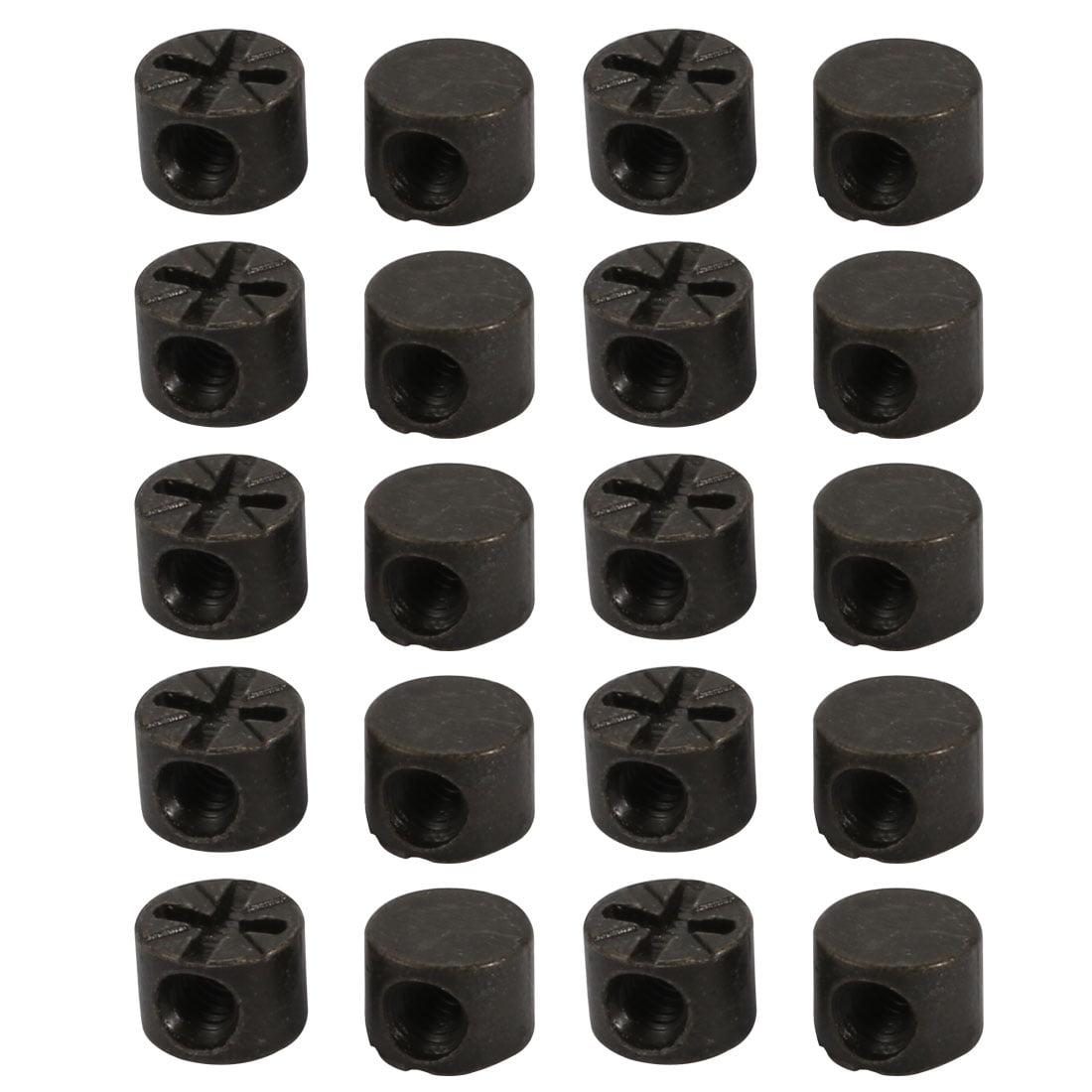 """Unique Bargains 20pcs 5/32"""" Thread 7mm Length Zinc Alloy Pozidriv Drive Cross Dowel Nut Black - image 4 de 4"""