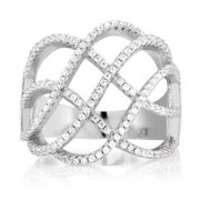 Beverly Hills Silver Sterling Silver Cubic Zirconia Criss-cross Micro Pave Ring