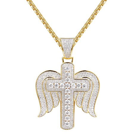 Solitaire Cross Angel Wings Pendant 14k Gold Finish Simulated
