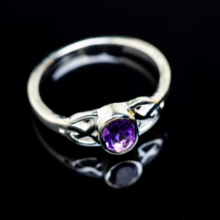 Faceted Amethyst Ring Size 6.25 (925 Sterling Silver)  - Handmade Boho Vintage Jewelry RING945778 ()
