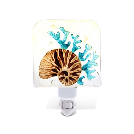 CoTa Global CoTa Global Conch Sea Shell Glass Plug In Night Light Energy Efficient LED Nightlight Wall Decorative Manual On Off Switch Incandescent Portable Lights for Stairways Bedroom Kitchen Hallwa](Glasses Led)