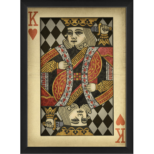The Artwork Factory King of Hearts Harlequin Playing Card Framed Graphic Art