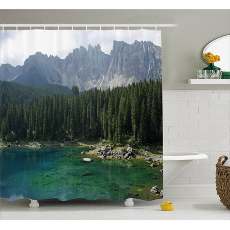 Nature Shower Curtain Aerial View Of Pine Forest By The Lake Beneath Mountain Pastoral Landscape