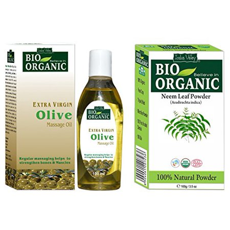 Indus Valley Neem Leaf Powder 100% Pure, Organic and Natural With Extra Virgin Olive Oil For Skin Care, Haire Care & Massage (Neem Powder 100 Grams and Olive Oil 100