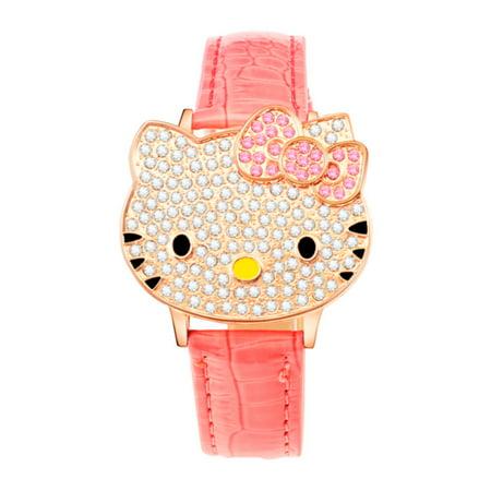 06410cb01 Rowena J - Hello Kitty Style Spring Open Crystal Face Woman Girls Light Pink  Watch, HKW-2 - Walmart.com
